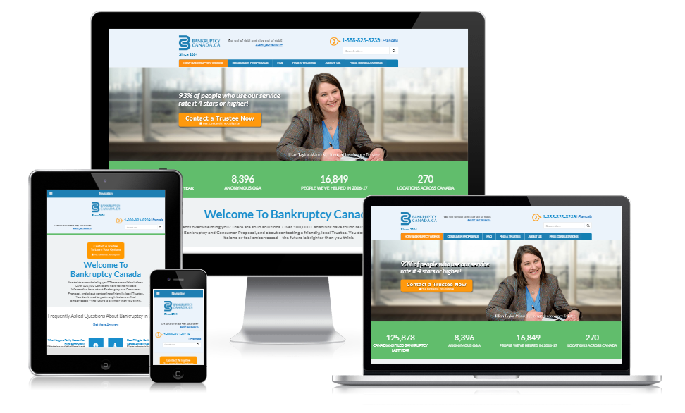 Website design for a bankruptcy company in Ontario Canada