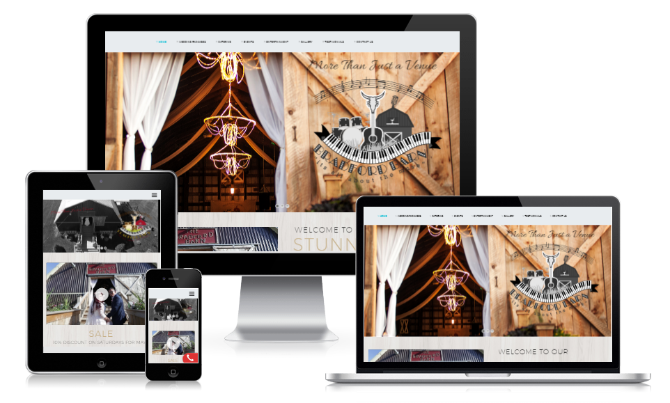 Website Design for Bradford Ontario's The Bradford Barn Wedding Destination