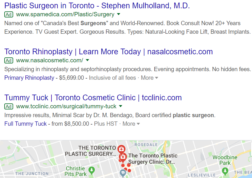 Toronto Plastic Surgery Adwords Remarketing Service